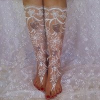 Long lace barefoot silver heart barefoot sandals shoe  elegant beach wedding  Handmade