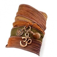 Silk Wrap Bracelet with Copper Om Charms | charmed design