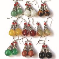Ethnic Tibetan Silver Crystal Earrings
