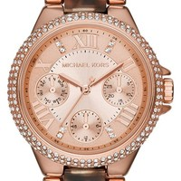 Women's Michael Kors 'Mini Camille' Chronograph Crystal Bezel Bracelet Watch, 33mm