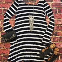 Addicted to you Striped Swing Dress: Black