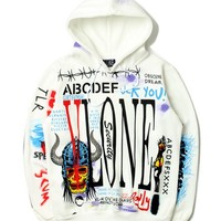 VLONE Popular Men Women Graffiti Print Long Sleeve Hoodies Couple Casual Top Sweater