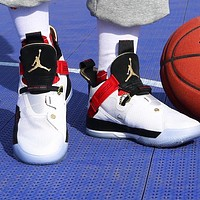Bunchsun NIKE Air Jordan XXXIII AJ33 Fashion Men Women Casual Sport Basketball Shoes Sneakers White&Red&Black