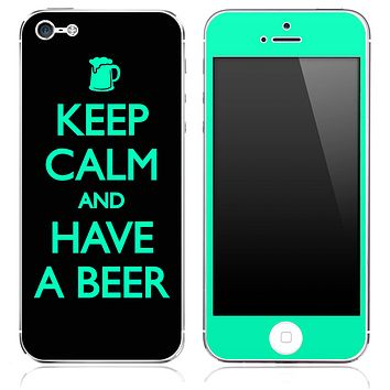 Trendy Green and Black - Keep Calm & Have A Beer - Skin for the iPhone 3gs, 4/4s, 5, 5s or 5c