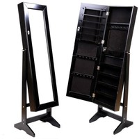 Black Mirrored Jewelry Cabinet Armoire Stand, Mirror, Necklaces, Bracelets, Rings