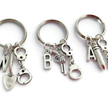 Friendship Keychains, Partners In Crime, Best Friends Long Distance, Three BFF, Teenager Gifts, 3 Sisters, Moving Away Present, Personalized