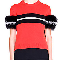 Fendi - Striped Fur & Cashmere Sweater - Saks Fifth Avenue Mobile