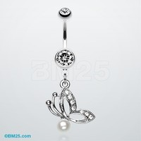 Elegant Butterfly Pearl Belly Ring