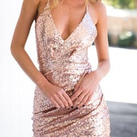 Pink Sequin Plunge Draped Wrap Strappy Back Cami Dress