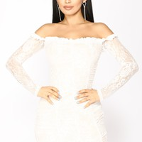 Kiss It Out Lace Dress - White