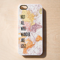 Vintage Map iPhone 5 4 4S Case New Not All Who Wander Are Lost