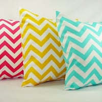 Three Dorm Pillow Covers - Bright Teal Yellow and Pink Chevron - 20 x 20 inches Throw Pillow Cushion Cover Accent Pillow