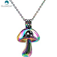 C676 COLORS lovely mushroom bead cage Necklace Pendant Aroma Essential Oil Diffuser Locket Necklace