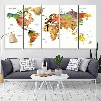 World Map Canvas Poster Print