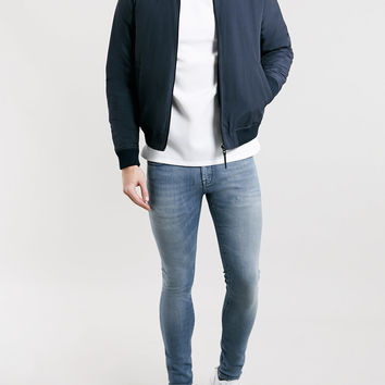 PREMIUM WASHED BLUE WEFT DYED SPRAY ON JEANS - Topman
