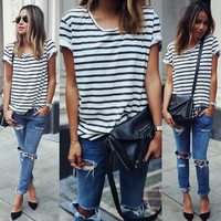 2016 Fashion Women Lady Clothing T-Shirts Tops  Loose Striped Cotton Brief Short Sleeve T Shirt Casual Tee Fashion Lady Summer