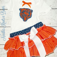 Girls Chicago Bears Cheerleader Outfit, Baby Girls Bears Coming Home Outfit, Girls Football Team Outfit, Baby Shower Gift