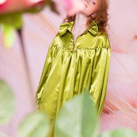 Mooly SS17 Green Puffy Sleeves Blouse/Dress