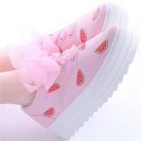 Harajuku sweet painted canvas shoes (watermelon, eye)