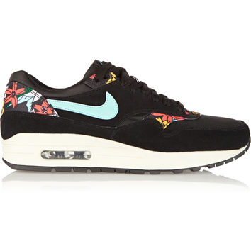 Nike - Air Max 1 suede, mesh and printed faux leather sneakers