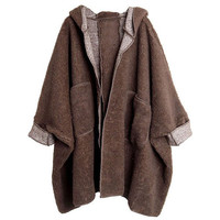 Coffee Hooded Long Sleeve Loose Pockets Trench Coat