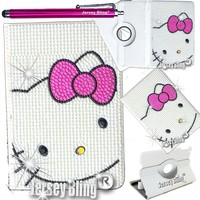 """Jersey Bling® Crystal Pearl Kitty Google Nexus 7"""" 2nd GEN Tablet Faux Leather Case Cover Folio with FREE Jersey Bling® Stylus"""