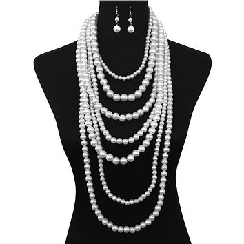 Extra Chunky Multi Layer Pearl Strand Necklace And Earrings Set