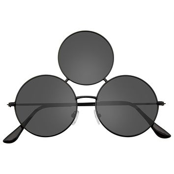 Novelty Oversize Triple Round Circle Color Tone Sunglasses