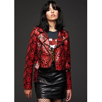 Cold Blooded Red Snakeskin Faux Leather Moto Jacket