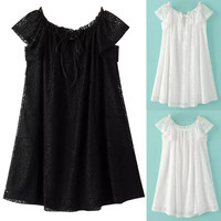 Embroidered Lace Tie-Neck A-Line  Mini Dress