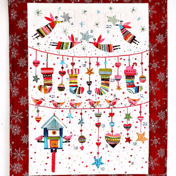 Advent Calendar, Quilted Christmas Wall Hanging, Fabric Calendar with Treat Pockets, Childrens Activity Calendar, Advent Quilt