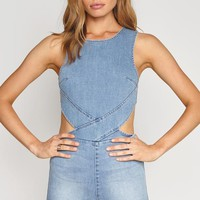 Kennedy Denim Romper Washed Blue