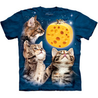 THREE KITTEN CHEESE MOON The Mountain Funny Cat And Mouse T-Shirt S-5XL NEW