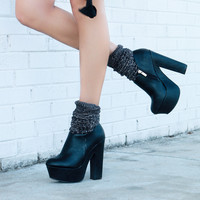 The Cruella Black Zip Up Platforms With Block Heel