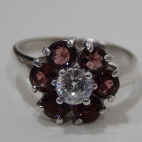 Sterling Silver 925 Flower Ring with Purple and White Cubic Zirconia Stones