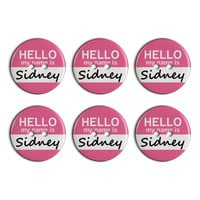 Sidney Hello My Name Is Plastic Resin Button Set of 6