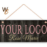 "Company Sign, Place Your Logo on Sign, Personalized 6""x14"" Sign, Promote Business or Boutique, Rustic Style , Glitter Name, Made To Order"