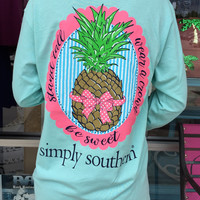 Simply Southern Pineapple Long-Sleeve - Aqua