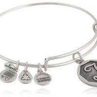 "Alex and Ani Rafaelian Silver Finish Initial ""T"" Expandable Wire Bangle Bracelet, 2.5"""