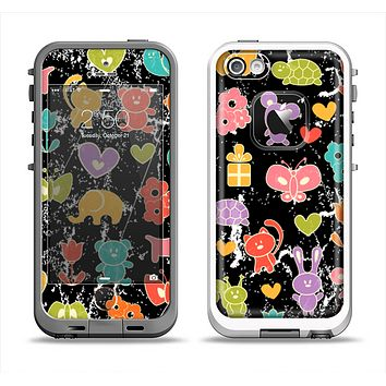 The Furry Fun-Colored Critters Pattern Apple iPhone 5-5s LifeProof Fre Case Skin Set