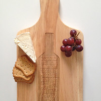 Wine Bottle Cheese Board - Entertaining Board - Wine Varieties - Party Gift - Wedding Gift - Stock the Bar