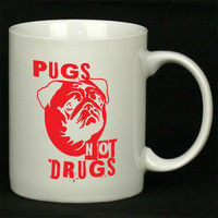 Pugs Not Drugs Red For Ceramic Mugs Coffee ***