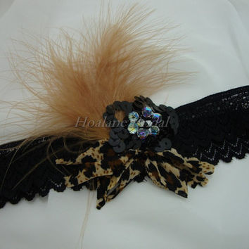 Garter, black stretch lace with feather garter, Special occasion garter