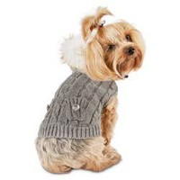 Smoochie Pooch Gray Cable Faux Fur Hood Dog Sweater