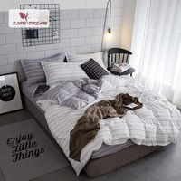Cool SlowDream Bedding Set Gray Stripes White Linen Comforter Duvet Cover Bedspread Double Bed Sheet Twin Queen King Adult BedclothesAT_93_12