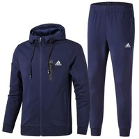 ADIDAS winter thickening sportswear men plus velvet cotton sportswear two-piece Blue
