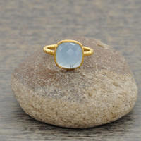 Hammered Ring, Custom Ring, Chalcedony Ring, Bezel Ring, 10mm Cushion Ring, 925 Silver Ring, Gold Plated Ring, Bridal Ring #1017