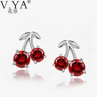Silver Cubic Zirconia Red Crystal Sweet Cherries Stud Earring 100% Real 925 Sterling Silver Earrings for Women CE123
