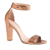 J.Crew Womens Lanie Crackled Metallic Leather Stacked-Heel Sandals
