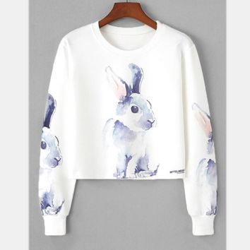 Print Round-neck Hoodies [2070460301366]